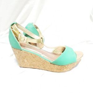 Makers green wedge heels